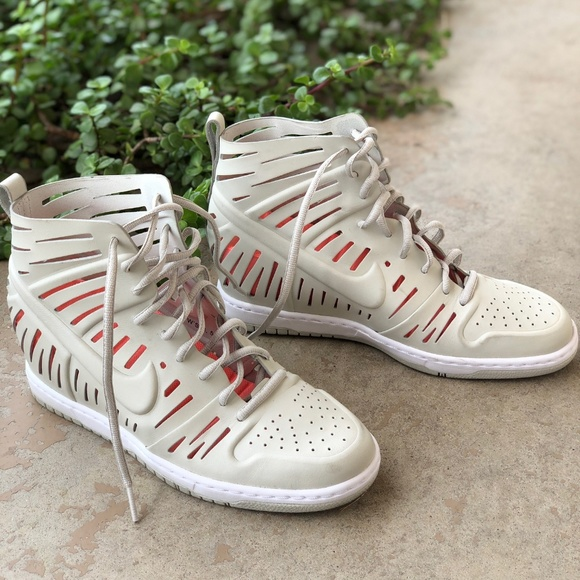 newest 3f079 19981 Nike Dunk Sky High Joli Nude Laser Wedge Sneakers.  M 5ae79f3650687cb6af90e5b2